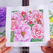 Картины и панно handmade. Livemaster - original item Flowers watercolor wild rose rosehip. Handmade.