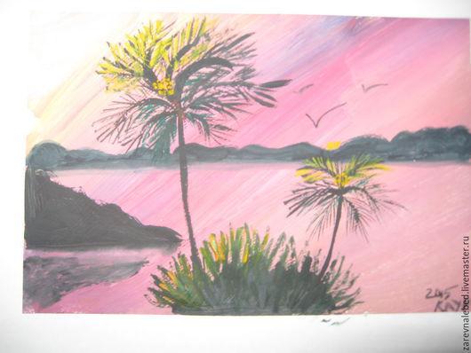 """Пейзаж ручной работы. Ярмарка Мастеров - ручная работа. Купить Картина """"Пальмы"""". Handmade. Оранжевый, гуашь, Живопись, бумага, живопись"""