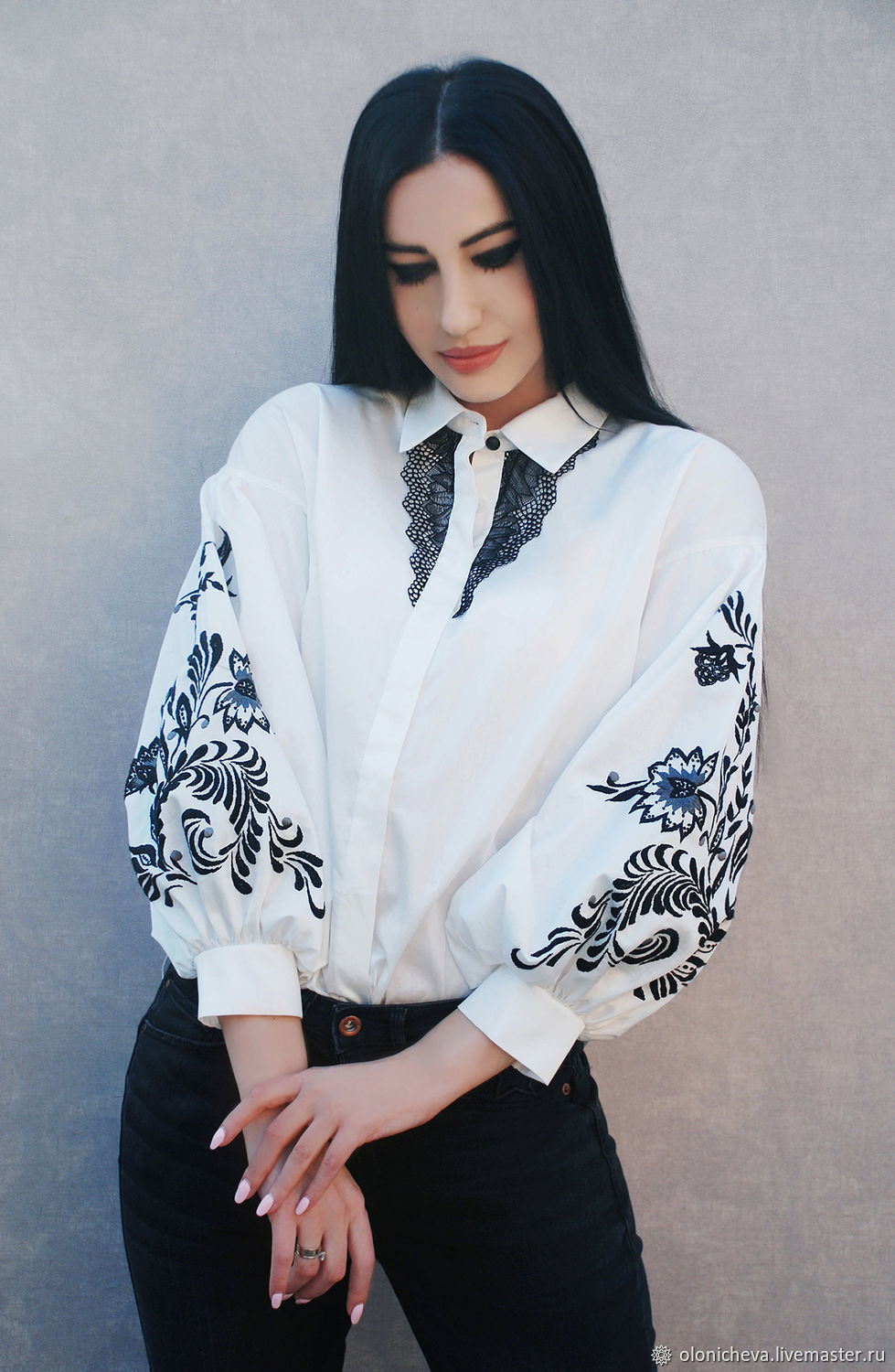8df609c5a36 Blouses handmade. Livemaster - handmade. Buy White embroidered blouse from  Batiste  Florid patterns ...
