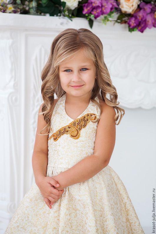 Одежда для девочек, ручной работы. Ярмарка Мастеров - ручная работа. Купить Нарядное платье с вышивкой бисером.. Handmade. Золотой