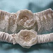 Свадебный салон handmade. Livemaster - original item Wedding podwysocki. Set of garters. The bride`s garter. Handmade.