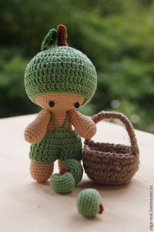 Человечки ручной работы. Ярмарка Мастеров - ручная работа. Купить Пупсик вязаный Яблочко. Handmade. Зеленый, Пупсик, игрушка в подарок
