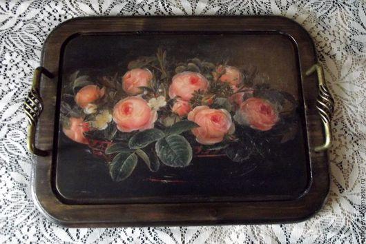 Кухня ручной работы. Ярмарка Мастеров - ручная работа. Купить Поднос деревянный с розами. Handmade. Комбинированный, подарок на любой случай