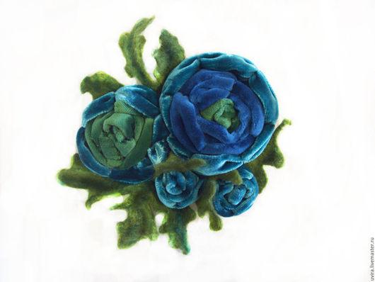 """Броши ручной работы. Ярмарка Мастеров - ручная работа. Купить брошь """"Очарование"""" - бархат, войлок. Handmade. Комбинированный, брошь цветок"""