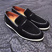 Обувь ручной работы handmade. Livemaster - original item Men`s loafers made of genuine suede and genuine python leather.. Handmade.