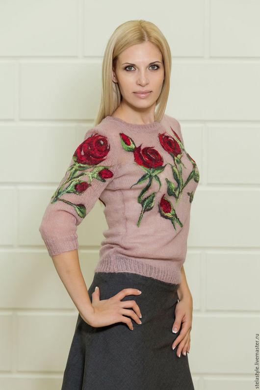 """Кофты и свитера ручной работы. Ярмарка Мастеров - ручная работа. Купить ' Scarlet Rose"""". Handmade. Бежевый, вязаный свитер"""