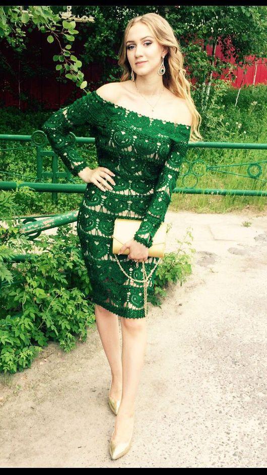 """Платья ручной работы. Ярмарка Мастеров - ручная работа. Купить Платье"""" Изумрудное сердце"""". Handmade. Платье нарядное, платье вязаное"""