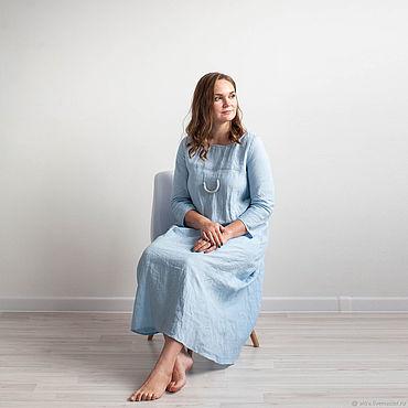 """Одежда ручной работы. Ярмарка Мастеров - ручная работа Льняное платье """"Красота простых линий"""" (небесно-голубой). Handmade."""