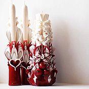 Свадебные свечи ручной работы. Ярмарка Мастеров - ручная работа Свадебные свечи - марсала и бежевый - свадьба в марсала - резные свечи. Handmade.
