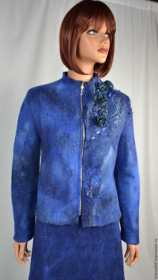 """Пиджаки, жакеты ручной работы. Ярмарка Мастеров - ручная работа. Купить Комплект,костюм валяный: юбка и жакет """"Blue blue ocean"""". Handmade."""