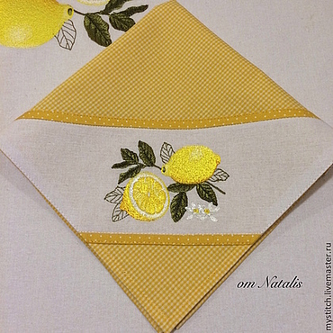 """Для дома и интерьера ручной работы. Ярмарка Мастеров - ручная работа Салфетка с вышивкой """"Лимоны -2"""". Handmade."""
