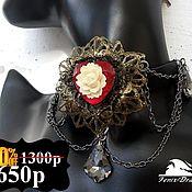Украшения handmade. Livemaster - original item Necklace / female leather choker  flower white rose Gothi. Handmade.