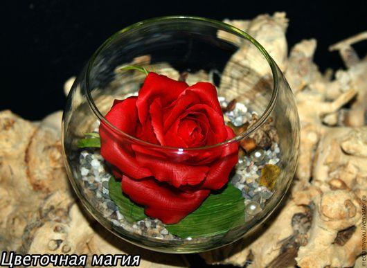 Цветы ручной работы. Ярмарка Мастеров - ручная работа. Купить Роза в стеклянной вазе из полимерной глины. Handmade. Бордовый