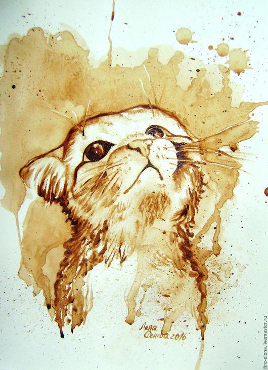 Животные ручной работы. Ярмарка Мастеров - ручная работа. Купить Кофейный аромат - Маленький котик. Handmade. Коричневый, кофе, котенок