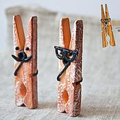 """Подарки к праздникам ручной работы. Ярмарка Мастеров - ручная работа Прищепки """"Рыжий кролик"""". Handmade."""