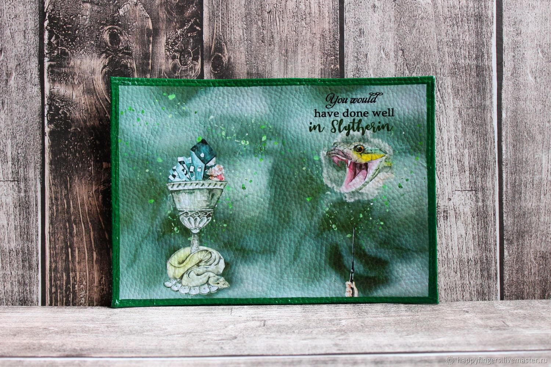 Кожаная обложка на паспорт Слизерин змея Гарри Поттер, Обложка на паспорт, Электросталь,  Фото №1