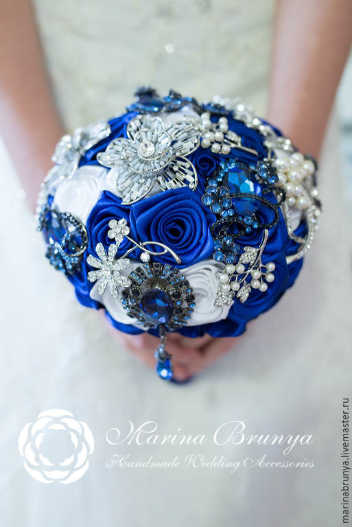 свадебный букет фото в синем цвете