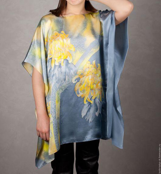 """Блузки ручной работы. Ярмарка Мастеров - ручная работа. Купить Батик блуза """"Хризантемы"""". Handmade. Серый, серапе, модная одежда"""