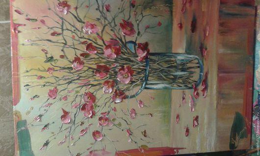 Картины цветов ручной работы. Ярмарка Мастеров - ручная работа. Купить сакура. Handmade. Картина в подарок, картина маслом