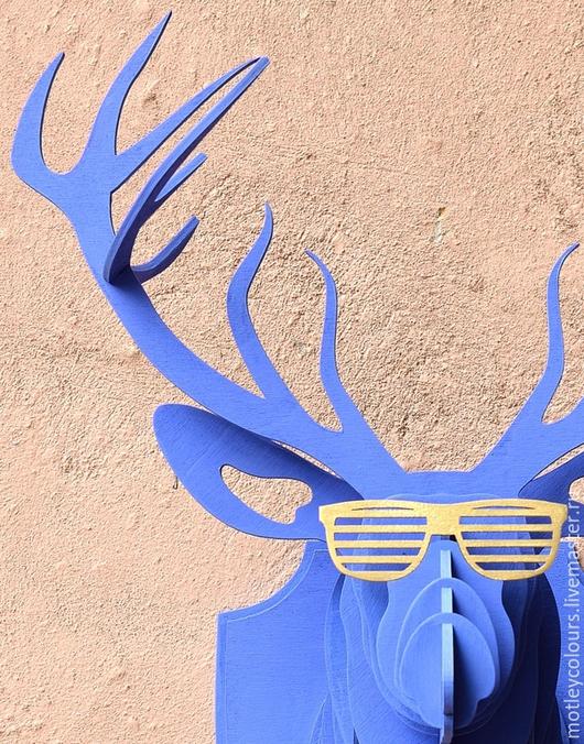 Интерьерные  маски ручной работы. Ярмарка Мастеров - ручная работа. Купить Голова оленя декоративная. Handmade. Синий, декоротивная голова