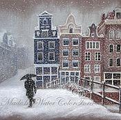 Картины и панно ручной работы. Ярмарка Мастеров - ручная работа Картина Снег в Амстердаме. Handmade.