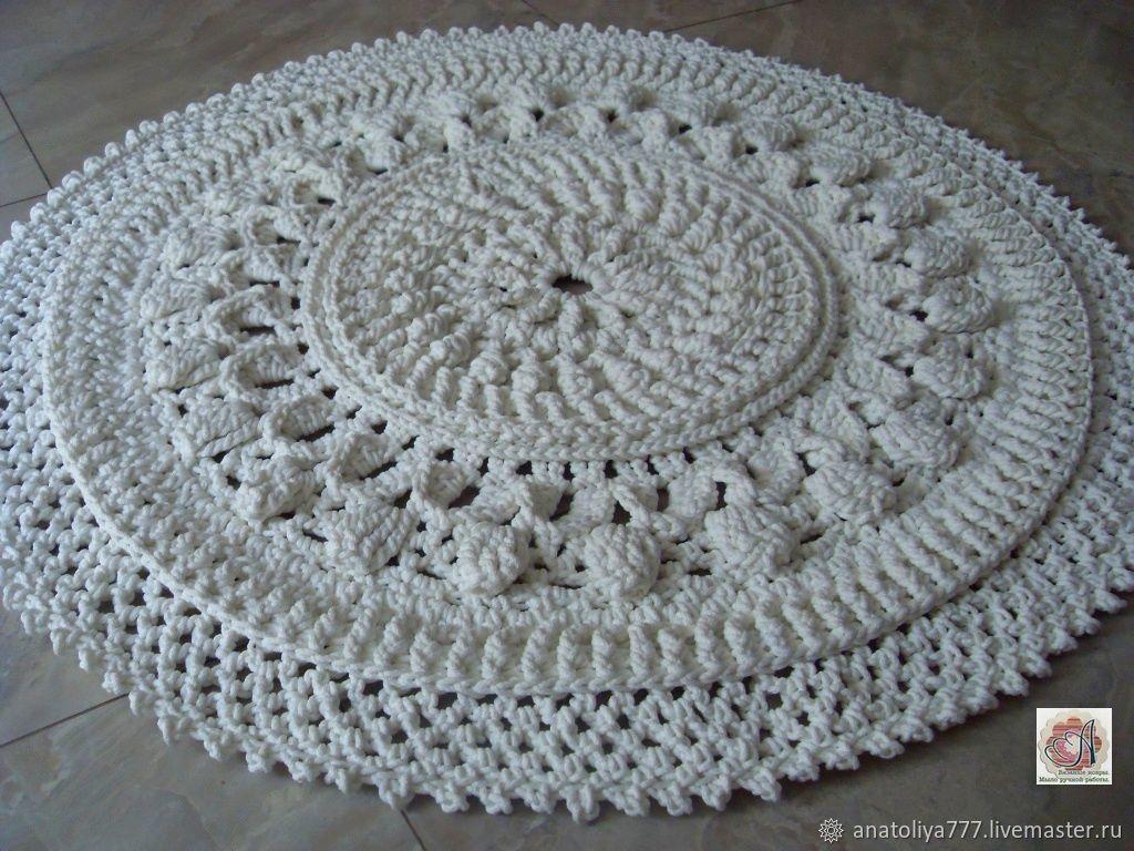 Текстиль, ковры ручной работы. Ярмарка Мастеров - ручная работа. Купить Коврик вязаный из шнура Снежинка малая. Handmade. Белый