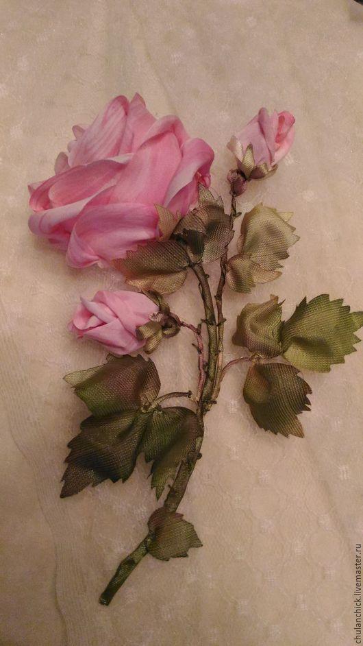 Ярмарка мастеров-ручная работа. Handmade. картины цветов ручной работы.  цветы шелковыми лентами. Роза вышитая. купить подарок. для интерьера. картина вышитая шелком.