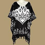 Одежда ручной работы. Ярмарка Мастеров - ручная работа Кельтский мотив черный туника платье, батик, свободный летний оверсайз. Handmade.
