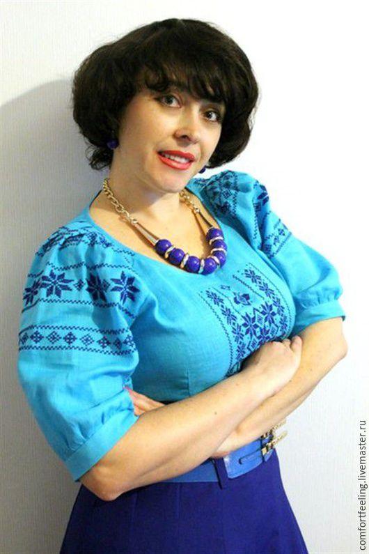 Блузки ручной работы. Ярмарка Мастеров - ручная работа. Купить Вышитая блузка голубая  летняя. Handmade. Комбинированный, блуза с вышивкой