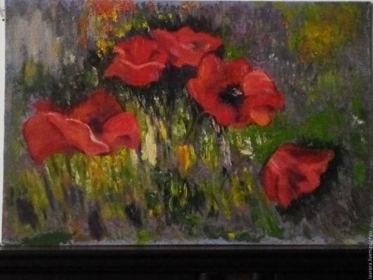 Картины цветов ручной работы. Ярмарка Мастеров - ручная работа. Купить Маки в траве. Handmade. Ярко-красный, маки, травы