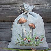 Для дома и интерьера handmade. Livemaster - original item Linen bag with painting... Birch and brook... Handmade.