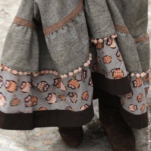 """Юбки ручной работы. Ярмарка Мастеров - ручная работа. Купить Зимняя юбка """"Совушки"""". Handmade. Коричневый, длинная юбка, серый"""