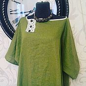 Одежда ручной работы. Ярмарка Мастеров - ручная работа Бохо Платье  оверсайз льняное Зеленый чай. Handmade.