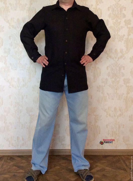 Для мужчин, ручной работы. Ярмарка Мастеров - ручная работа. Купить Льняная мужская рубашка в ЭКО стиле с деревянными пуговицами.. Handmade.