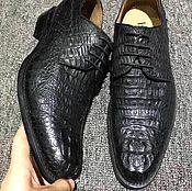 Обувь ручной работы handmade. Livemaster - original item Men`s shoes made of embossed part of Caiman leather, black color.. Handmade.