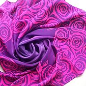 Платок трафаретные розы фиолетовый