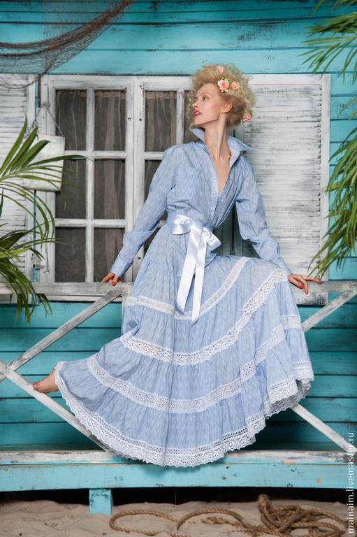 Платья ручной работы. Ярмарка Мастеров - ручная работа. Купить Платье-рубашка из хлопка для свадьбы и на каждый день. Handmade. Голубой