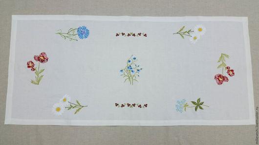 Текстиль, ковры ручной работы. Ярмарка Мастеров - ручная работа. Купить Дорожка на стол Полевые цветы. Скатёрная дорожка. Handmade.