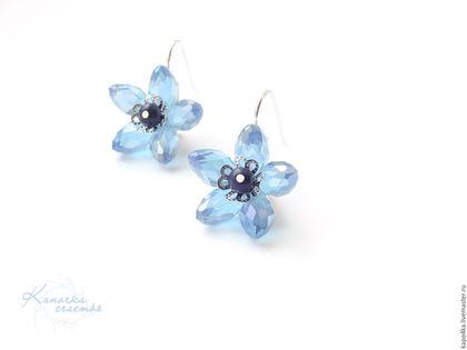 Серьги ручной работы. Ярмарка Мастеров - ручная работа. Купить Серьги посеребренные Голубые цветы серьги хрустальные цветочки цветок. Handmade.