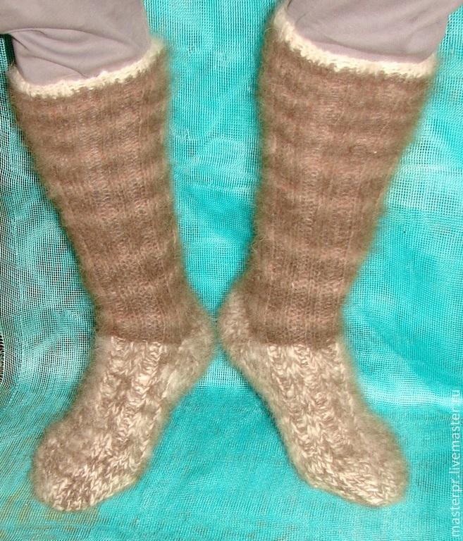 Socks knitted socks handmade . Socks-socks from dog hair (fuzz) high Socks-knee socks from the living threads Socks socks thick warm winter Socks and useful