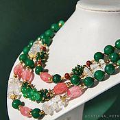 """Украшения handmade. Livemaster - original item Ожерелье """"Лето"""" - изумрудный агат, клубн.кварц, горный хрусталь. Handmade."""