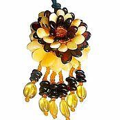 Украшения handmade. Livemaster - original item Pendant: Flower amber pendant, amber brooch 2 in 1 gift woman girl. Handmade.