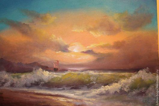 Пейзаж ручной работы. Ярмарка Мастеров - ручная работа. Купить Закат на море. Handmade. Картина, пейзаж, средиземноморский стиль