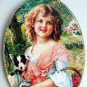 Картины и панно ручной работы. Ярмарка Мастеров - ручная работа Девочка со щенком Панно для интерьера. Handmade.