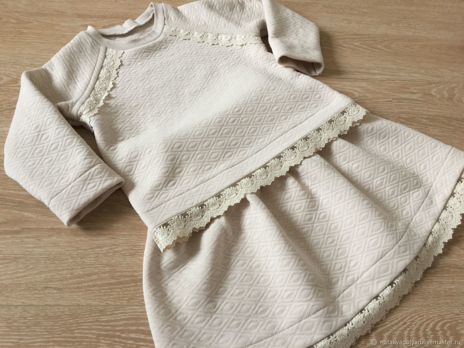 Clothes for Girls handmade. Livemaster - handmade. Buy Suit for girls cotton kapitone 'Cozy autumn'.Knit