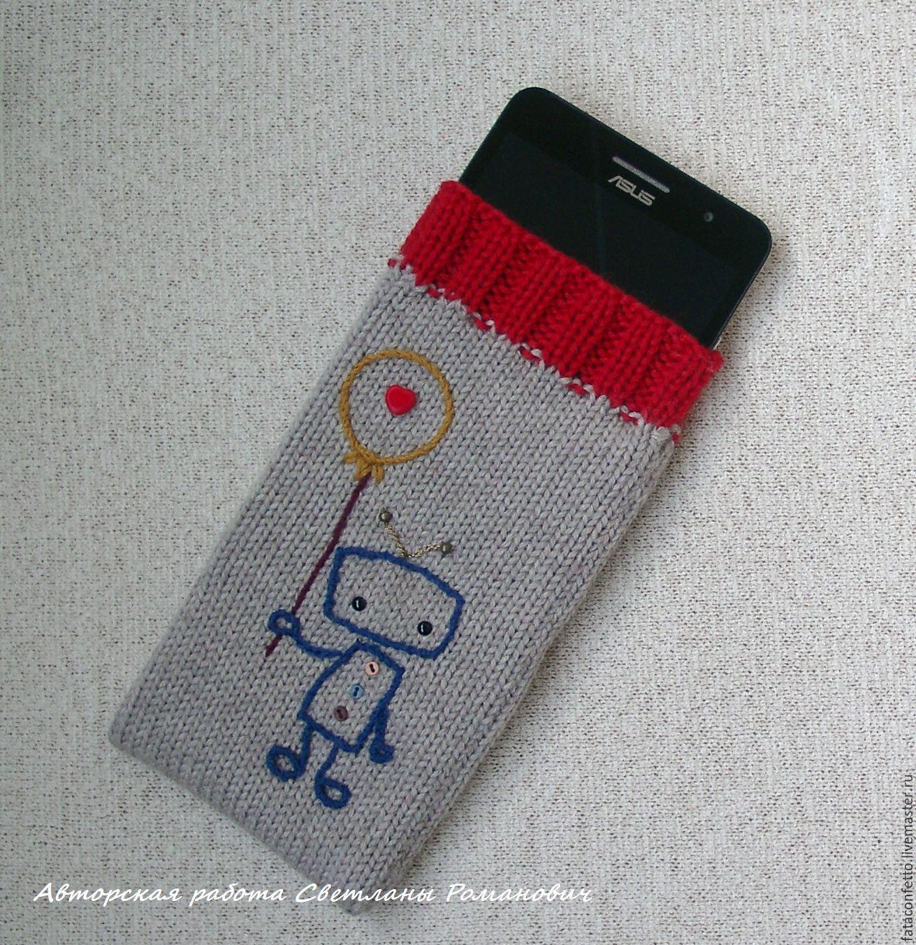 Чехол для мобильного телефона - 5 вязаных идей