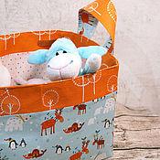 Для дома и интерьера ручной работы. Ярмарка Мастеров - ручная работа Корзина текстильная для игрушек новогодняя. Handmade.