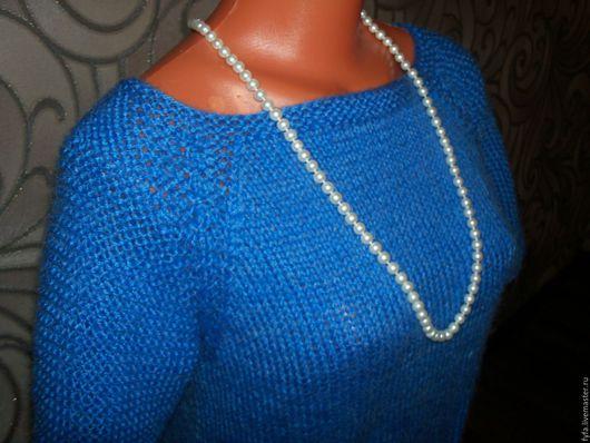 Кофты и свитера ручной работы. Ярмарка Мастеров - ручная работа. Купить Пуловер женский вязаный спицами. Handmade. Синий
