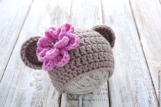 Для новорожденных, ручной работы. Ярмарка Мастеров - ручная работа. Купить Вязаная шапочка с ушками для фотосессии новорожденных бежевый розовый. Handmade.