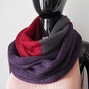 Аксессуары handmade. Livemaster - original item Snood in two turns tricolor (dark gray, purple, Bordeaux). Handmade.